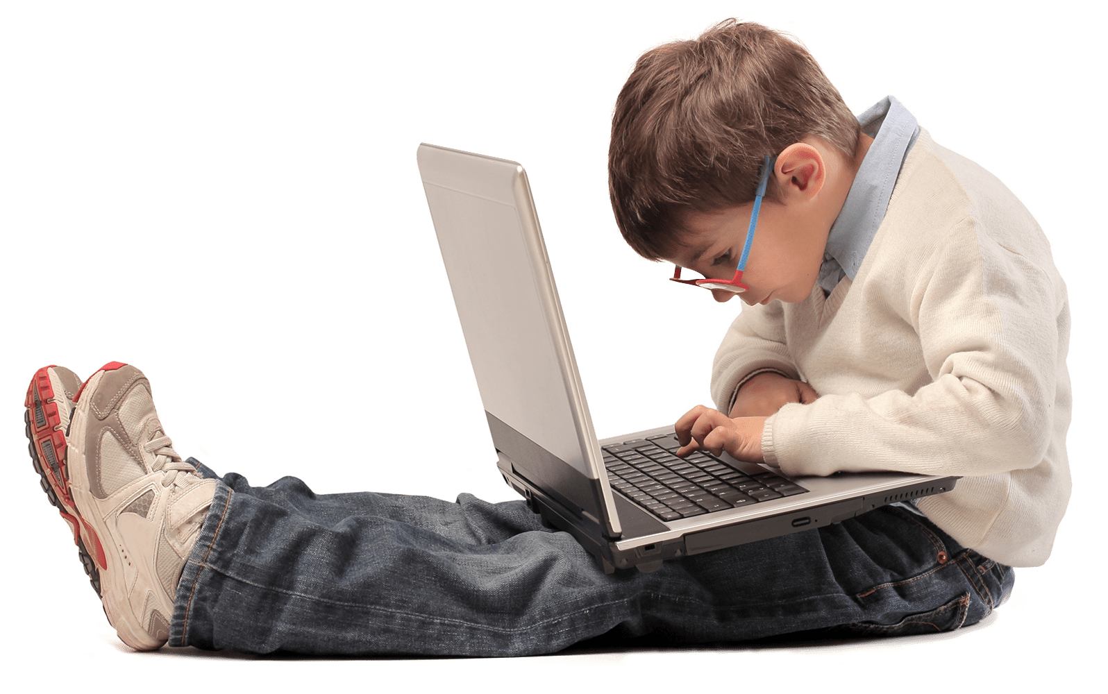 Website background. Kid using a laptop.